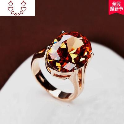 超大橢圓形香檳鉆戒指 裸水晶寶石 中食指裝飾戒 歐美大碼女 Chunmi