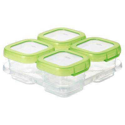 美國進口奧秀(OXO)嬰童保鮮盒 冷凍保鮮儲存盒 嬰兒輔食盒 兒童便攜餐具 4格裝