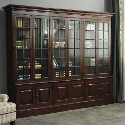 美式鄉村紅橡仿古玻璃書房閃電客組合書柜田園家具復古書櫥可 三門書柜全 1.4米以上寬
