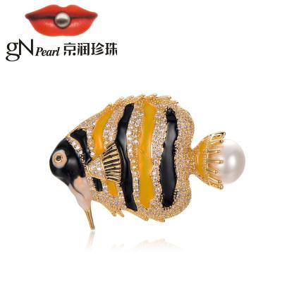 京润珍珠 子非鱼 合金镶淡水珍珠胸针 白色 时尚