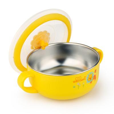 宝啦母婴婴幼儿童餐具可拆洗不锈钢小号双耳碗260ML黄色(3081)