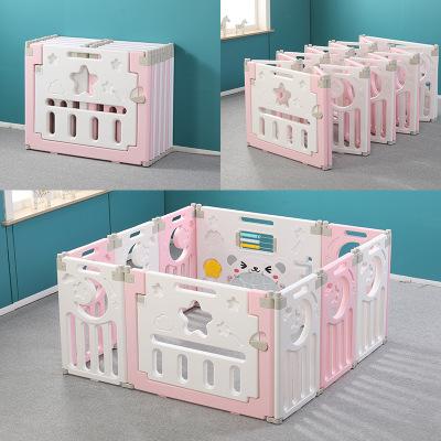 蹦跶鼠(Beng Da Shu)兒童室內游戲圍欄滑梯寶寶家用游樂園爬行墊嬰兒安全學步柵欄防護【10+2 藍+白色】