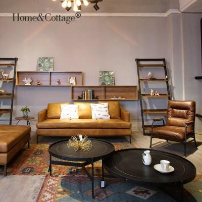 HC 美式工业复古茶几 铁木真皮做旧圆套几北欧loft沙发边桌大茶几
