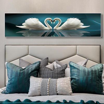 19762 170*45尊貴黑框晶瓷畫面LB(鋁合金屬畫框) 發財樹臥室裝飾畫現代簡約橫版大幅床頭掛畫北歐風格輕奢晶瓷墻