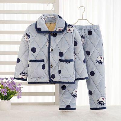 秋冬季儿童法兰绒睡衣男童加厚款三层夹棉女童珊瑚绒宝宝小孩套装凝骢
