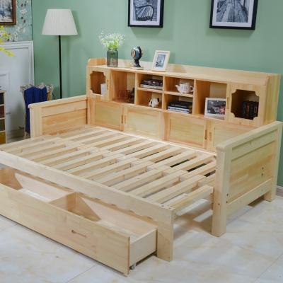 尋木匠實木沙發床小戶型多功能1.5米單人客廳1.8雙人可折折疊推拉坐臥兩用