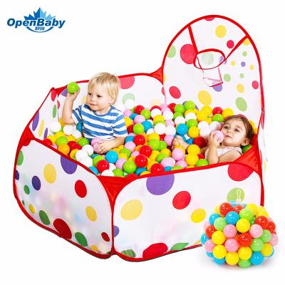 歐培(OPEN BABY)兒童帳篷游戲屋游戲池室內嬰兒玩具彩色球池 90CM紅色波點 送50球