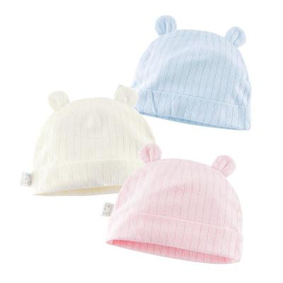 纯棉提花双耳婴儿帽 宝宝帽儿胎帽新生儿儿童套头帽