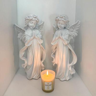 歐式復古白色天使客餐廳臥室桌面人物石膏塑裝飾擺件拍照道具【定制】 白色一對