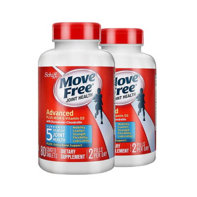 2件装|Schiff 旭福 Move Free维骨力 氨糖软骨素含维D 2000IU 促进钙吸收 增加骨密度 蓝瓶80粒