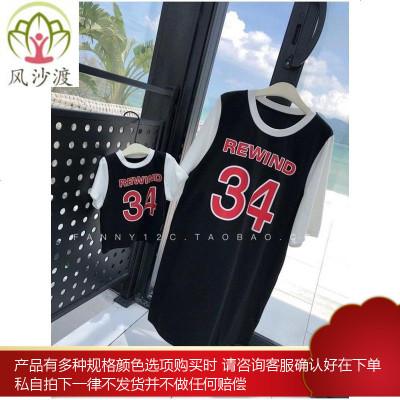 辰辰妈亲子装夏装假两件篮球运动风短袖t恤 母子装妈妈长款T恤裙图片件数为展示