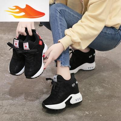 FISH BASKET10厘米内增高女鞋2019新款秋季厚底鞋冬季百搭显瘦加绒休闲运动鞋