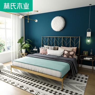 林氏木业简约双人铁床成人单人床北欧铁艺床公寓床EO1A