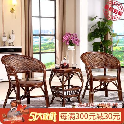 尋木匠室內藤椅靠背椅子茶幾三件套 休閑真藤編庭院陽臺桌椅茶桌組合