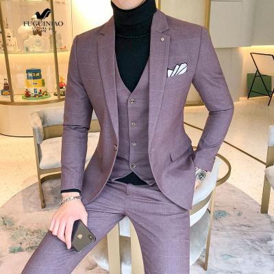 富貴鳥(FUGUINIAO)氣質秋冬韓版型師修身大碼西服套裝男格子結婚禮服西裝三件套潮S-5XL