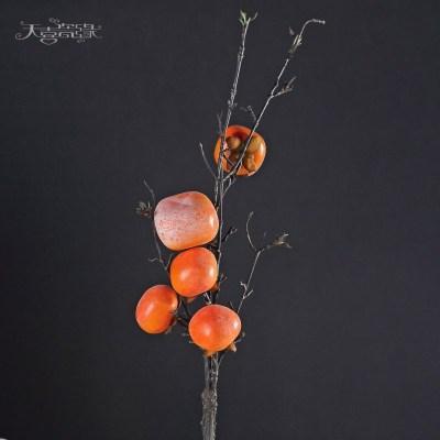 仿真花石榴果樹枝假花花卉 客廳落地家居軟裝飾品擺設插花藝擺件