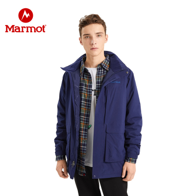 Marmot/ 土拨鼠中长款男士防泼水商务保暖棉服