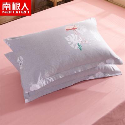 南極人(NanJiren)家紡 枕套純棉斜紋枕頭套2個 純棉枕套 兩只裝 枕芯套一對48*74cm
