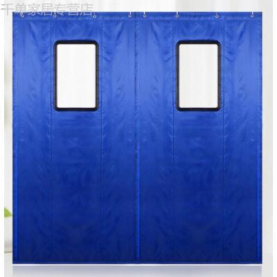 隔音棉帘冬季加厚家用挡风保温保暖棉帘车间隔断棉帘子 蓝色 定制四层厚度