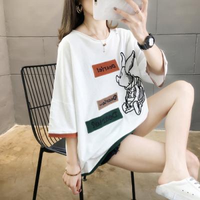 企妍T恤女2020夏裝新款韓版潮字母貼布刺繡大碼女裝胖MM T恤上衣