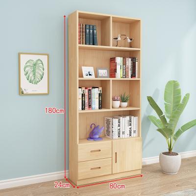 閃電客實木書柜書架自由組合簡約落地儲物收納柜多功能兒童松木書櫥帶門 原木無漆抽屜組合D款