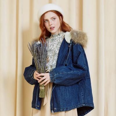 【1件2.7折:179.8】美特斯·邦威棉服女大拉鏈仿羊羔絨牛仔夾克氣質短外套冬裝新款