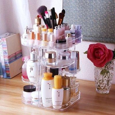 化妆品收纳盒梳妆台置物架桌面口红护肤品透明旋转亚克力整理抖音