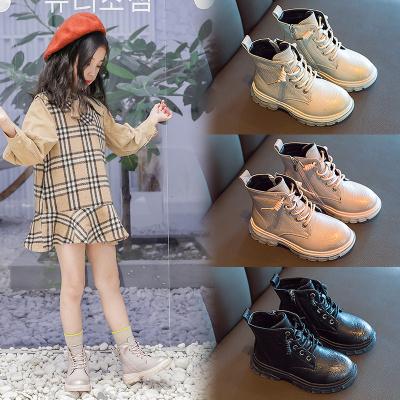 神奇绵羊女童马丁靴2019新款秋冬季加绒马丁靴英伦风公主鞋男童短靴二棉靴