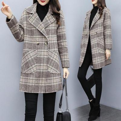 魅言魅語(MeiYanMeiYu)毛呢外套女中長款2019秋冬新款韓版格子呢子大衣
