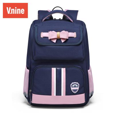 第九城(V.NINE)書包小學生男女孩1-6年級兒童雙肩包大容量多功能英倫3D肩負反光條安全背包滌綸