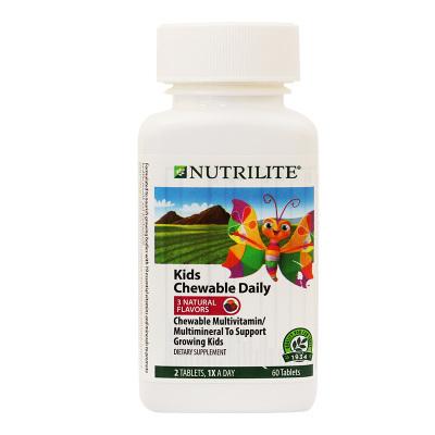 美國安利紐崔萊兒童多種營養素咀嚼片60片/瓶含鈣鎂鋅鐵維生素2~8周歲兒童片劑維生素A/B族/C/E/D 大豆異黃酮