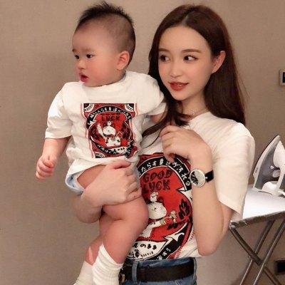 2019新款短袖純棉條紋親子t恤套裝母子母女一家三口四口洋氣夏裝
