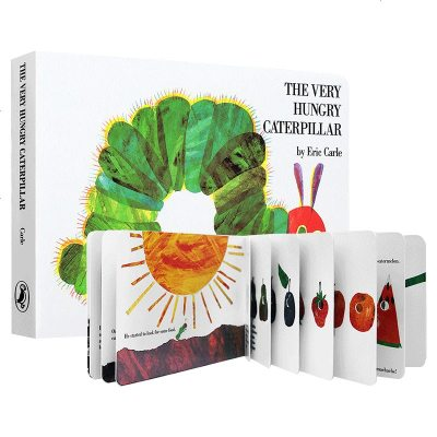 好饥饿的毛毛虫英文原版绘本 The Very Hungry Caterpillar纸板翻翻洞洞书 艾瑞卡尔Eric