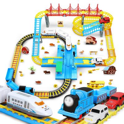 OMKHE 兒童軌道車玩具小火車軌道多層超大過山車玩具電動高鐵動車玩具汽車男孩托馬斯小火車套裝