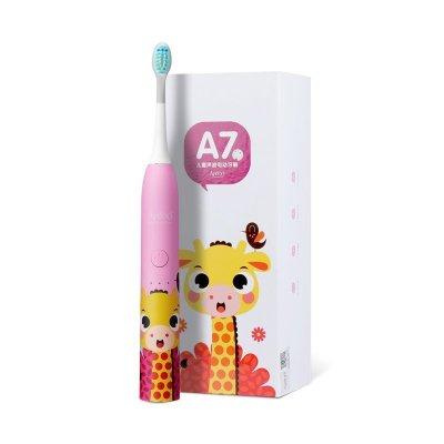 荷蘭艾優APIYOO官方旗艦店 兒童聲波電動牙刷 A7 防水充電式 3-12歲兒童款 斑尼鹿 粉色