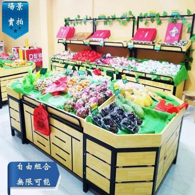 超市水果貨架展示架組合水果架子水果店鋼木貨架果蔬貨架創意多層A-STYLE