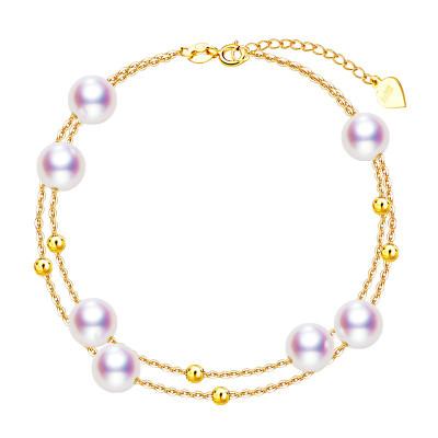 海瞳 滿天星 18K金 淡水珍珠手鏈 女款 正圓 多層 時尚珍珠手鏈 約長19cm 可適當調節長短