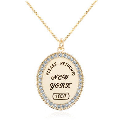 【RETURN TO NEW YORK】AITEKA愛緹卡18k黃金色項鏈女ins嘻哈網紅潮人復古圓牌吊墜裝飾配飾