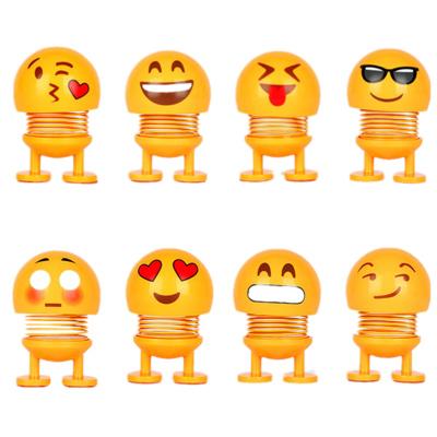 TAOERJ/淘尔杰【4个装不同款】表情包摇头公仔 抖音同款 新品汽车摆件 可爱个性小黄笑脸弹簧仔-随机不同款