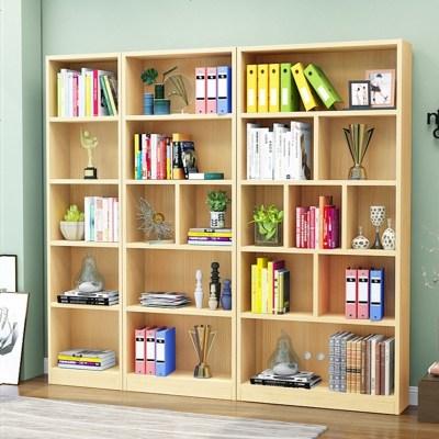航竹坊 實木書柜書架客廳落地簡約現代松木自由組合置物架兒童帶儲物柜