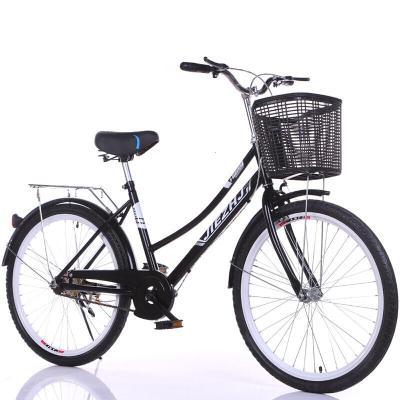 自行车女式通勤单车普通自行车成人女城市骑行学生复古轻便自行车