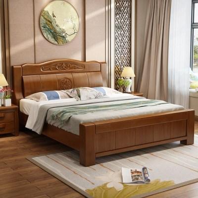 禧漫屋 主臥床 全實木雙人床床現代中式床單人床臥室家具婚床床簡約現代1.5米1.8米木質床