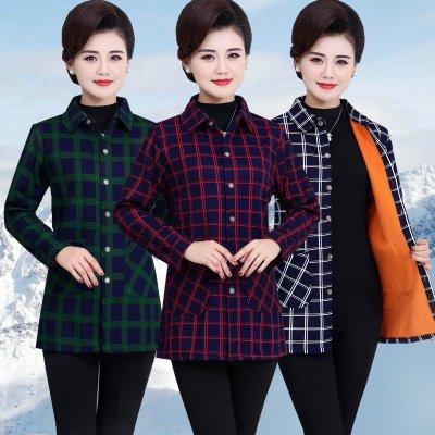 HKCP中老年女裝長袖襯衫媽媽裝秋冬裝格子保暖襯衣服老年人加絨4050歲
