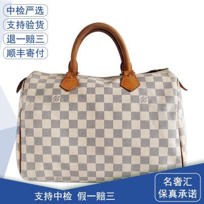 【正品二手9成新】路易威登(LV)N41370 女士 白棋盤格 speedy30 手提包 帆布