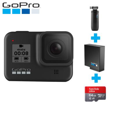 GoPro hero8運動攝像機水下潛水 4K戶外直播防水攝像機vlog 官方標配+迷你自拍桿+原裝電池+64G卡