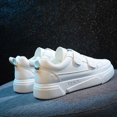 奥休斯(all shoes) 春季魔术贴女士休闲鞋 女舒适透气软底圆头小白鞋平跟(≤1厘米)帆布鞋
