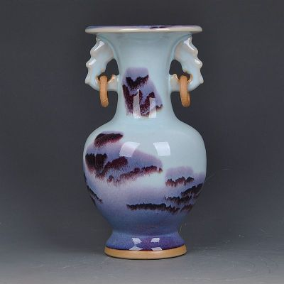古笙記 景德鎮陶瓷器 鈞瓷窯變雙耳環花瓶 鈞瓷山水紋家居裝飾工藝品擺件