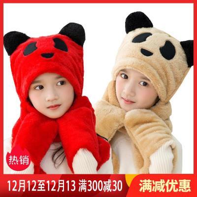 男女儿童帽子围巾手套三件一体宝宝加绒护耳帽子围脖冬季毛绒围巾 莎丞