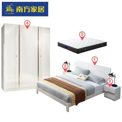 南方家居現代簡約雙人床1.8米+衣柜+床墊臥室成套家具套裝組合