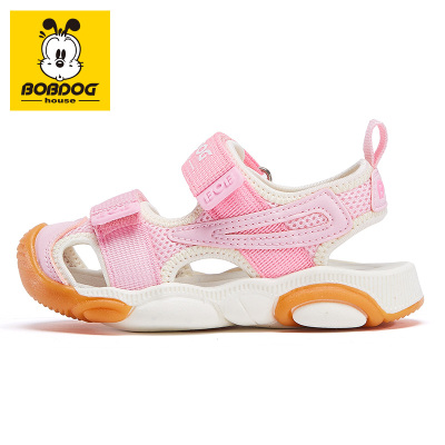 BOBDOG HOUSE巴布豆童鞋兒童涼鞋夏季包頭PU魔術貼男童女童寶寶橡膠軟底沙灘鞋6256